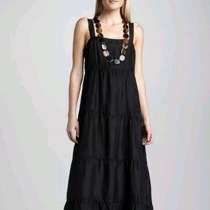Eileen Fisher Black Tiered Silk Maxi Dress